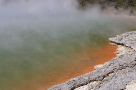 Orange border at Champagne Pool in Wai-O-Tapu Geothermal Wonderland, Rotorua, New Zealand  photo