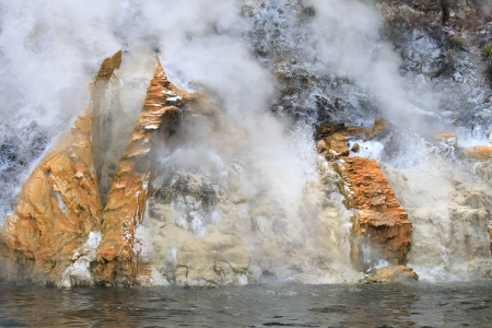 Steaming Cliffs (Donne Cliffs), Lake Rotomahana, Waimangu Volcanic Valley, Rotorua, New Zealand  photo