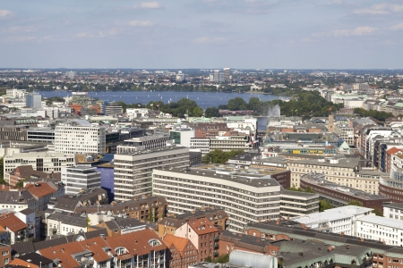 View on Hamburg city with Alster lake in the summer  photo