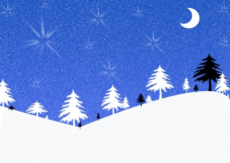 Blue, black and white christmas illustration with trees, stars, moon and snow illustration