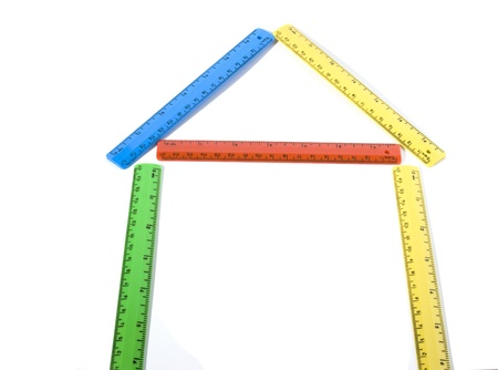 width: house made of colored rulers. Stock Photo