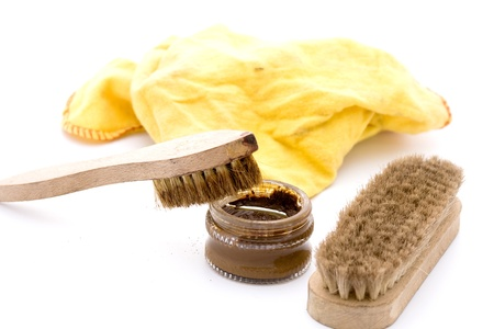 business cloth: shoe polish with brushes in brown and yellow cloth