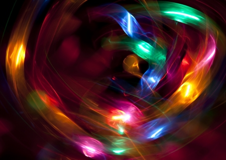 A heart of colorful lights in motion photo