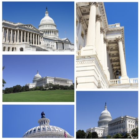 neoclassical: Collage of different images of the capitol in Washington DC Stock Photo