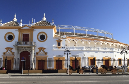 horse cart: Entrance of the Bull fight arena in Seville, Spain