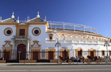 bull fight: Entrance of the Bull fight arena in Seville, Spain