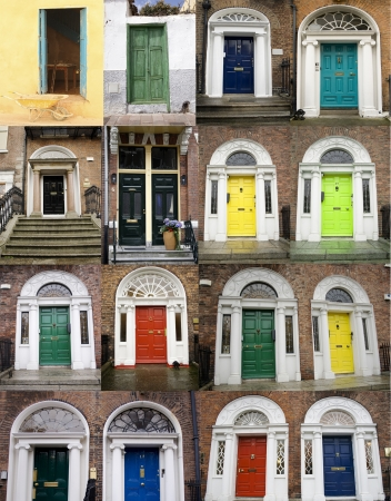 A photo collage of 16 colourful front doors to houses and homes
