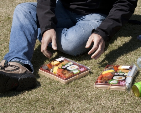 Man on grass with two bento boxes in Japan Stock Photo - 16604104