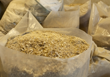 sawdust: Bags of sawdust in a carpenters workshop