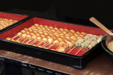 Japanese sweets called mitarashi dumplings in a box Stock Photo - 17094232