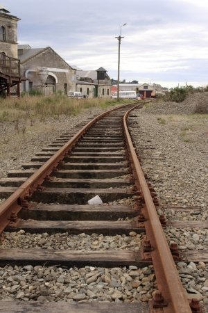 oamaru: Old railroad track in the industrial part of Oamaru, New Zealand