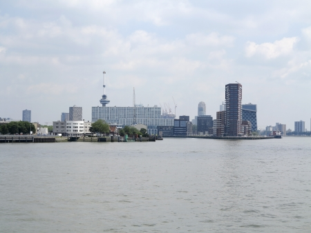 euromast: Skyline of Rotterdam from the river Maas Stock Photo