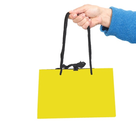 Hand in blue sweater holding bag with black cord  Stock Photo - 17365866