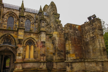 Rosslyn chapel in Scotland. The 15th century building is famous from the Da Vinci Code is