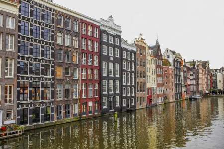 gabled house: Houses on a canal in Amsterdam