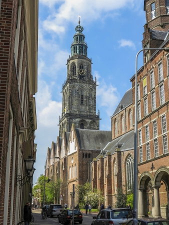 groningen: Street in Groningen with view on the Martinitower in the Netherlands
