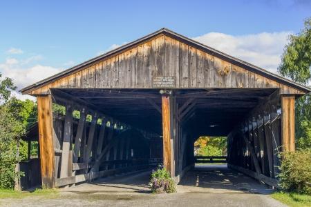 covered bridge': Beautiful old double covered bridge Stock Photo