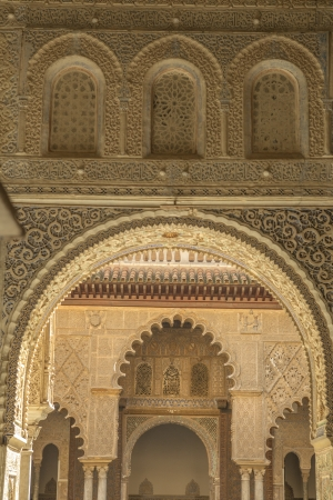 ambassadors: SEVILLE, SPAIN-OCT 29: Detail of the Alcazar Reales on oct 29, 2012. It is a royal palace in Seville, originally a Moorish fort. It is the oldest royal palace still in use in Europe, and it was registered in 1987 by UNESCO as a World Heritage Site