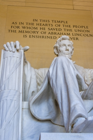 honest abe: Marble statue of Abe Lincoln in Washington DC with text