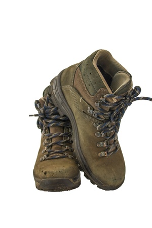 hiking shoes: Pair of hiking boots isolated Stock Photo