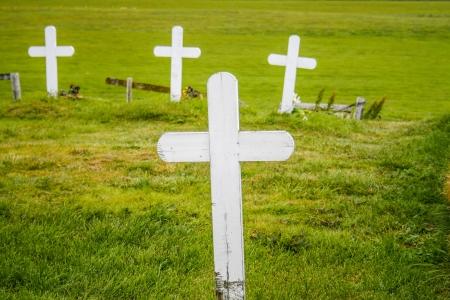 memorial cross: cuatro cruces de madera y weatherd blancos en un prado verde