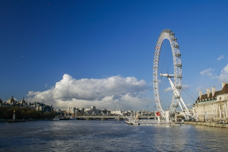 eye traveller: LONDON - MARCH 9: The London eye photographed across the river Thames on MARCH 9 2007 in London, England. The London eye is the biggest ferris wheel in Europe at 443ft tall Editorial
