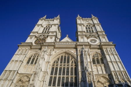 heritage site: Westminster abbey against a blue sky