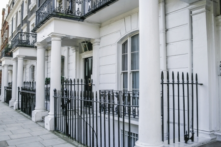 london street: Beautiful terraced Edwardian houses in London