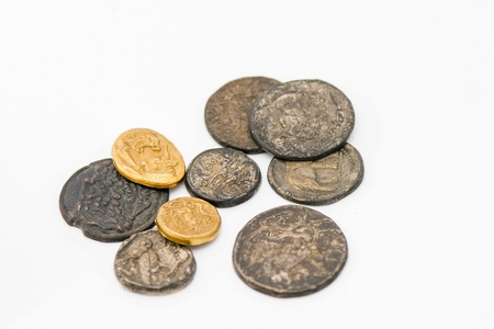copper coin: Different kinds of antique roman coins on white background