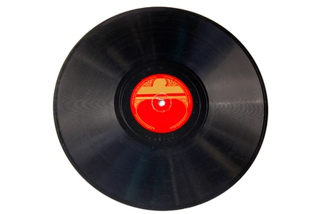 78 rpm: Vintage black record isolated on white Stock Photo