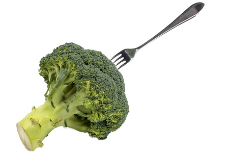 Green broccoli with fork photo