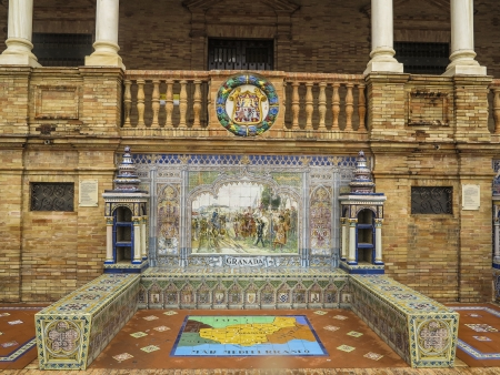 depiction: Ceramic bench on the Plaza de Espana in Sevilla, Spain with a historic depiction of Granada   Built in 1928 for the Ibero-American Exposition of 1929  Editorial