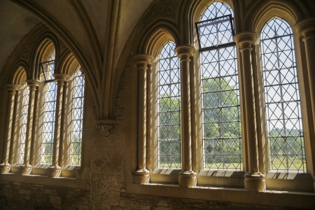 church window: Gothic windows in the medieval abbey of Lacock, Wiltshire Stock Photo