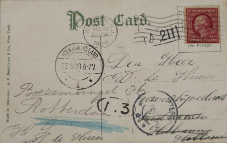THE NETHERLANDS-CIRCA 1909: Vintage postcard with red two cent stamp and postmarked Hoboken and Hoek van Holland in 1909. Address in Rotterdam, the Netherlands