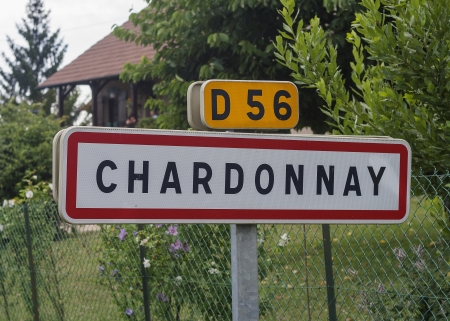 French village roadsign of Chardonnay. Chardonnay is one of the most famous white wine grapes in the whole world.
