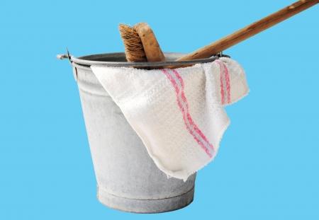 floor cloth: zinc bucket with floor cloth and floor brush