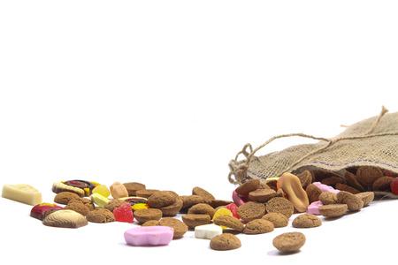 Zak met snoep voor de vakantie van Sinterklaas in Nederland en België Stockfoto