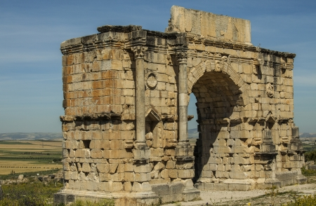 nicknamed: Triumphal Arch - North side of the Arch of Caracalla in Volubilis, Morocco Built in 217 AD, The Arch of Caracalla was built in honor of the Roman Emperor Marcus Aurelius Antoninus, nicknamed Caracalla, and his mother, Julia Domna  It celebrates Caracalla