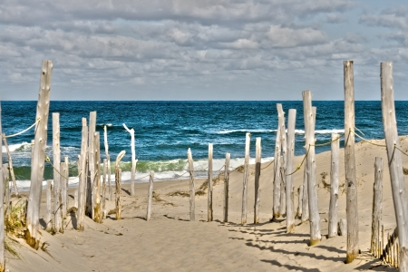Sandy beach and ocean at Cape Cod Stock Photo