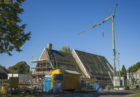 roofing membrane: Building and construction of a new house in the Netherlands Stock Photo