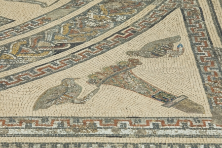 soothe: Morocco. Volubilis - archaeological site is  Fragment of Roman mosaic of Orpheus playing to soothe wild animals in the House of Orpheus 300 AD  Editorial