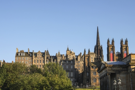 royal park: View from Princes Street towards the Royal Mile, showing the exterior of historic Edinburgh buildings   Stock Photo