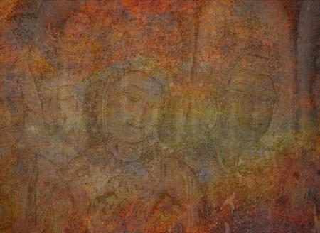 murals: Grungy background with buddhist murals