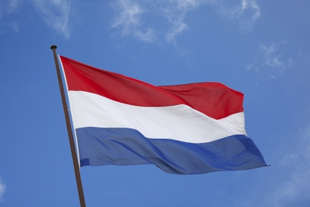 dutch flag blowing in the wind against a blue sky   Stock Photo