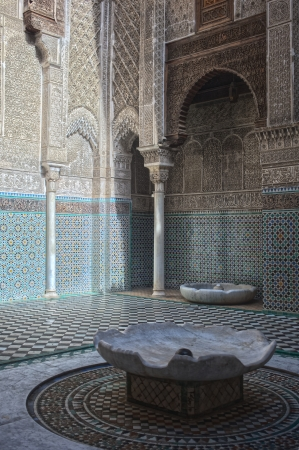 fas: Misbahiya medersa main court at Fez, Morocco
