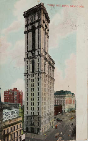 42nd: NEW YORK, USA-CIRCA 1907: The New York Times building at 42nd and Broadway in New York City circa 1907 called One Times Square. The spot later became known as Times Square