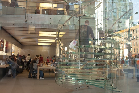 NEW YORK CITY -SEPT 23:  Interior of the  Apple Store  on 5th Avenue, New York, Sept 23,2008. As of July 2013, Apple has 411 retail stores in 14 countries