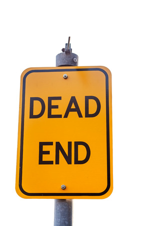 realist: Yellow road warning sign isolated on white  Dead End
