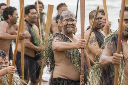 NEW ZEALAND-FEB 6 Maori warrior with fake tattoo at a Haka on Waitangi Day celebration,Feb 6, 2009  Waitangi day is a public holiday,yearly on Feb 6 to celebrate the signing of the Treaty of Waitangi Editorial