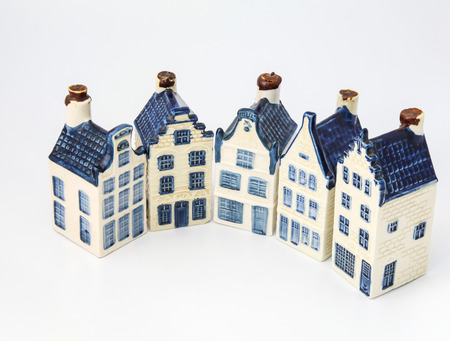 Dutch historical ceramic houses in Delft china in half a circle photo